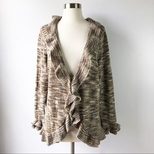 Avenue Ruffle One Button Cardigan Sweater 18 20
